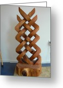Red Cedar Sculpture Greeting Cards - Celtic Knot Sculpture Greeting Card by Shane  Tweten