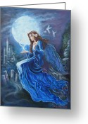 Science-fiction Art Greeting Cards - Celtic Moon Goddess Greeting Card by Tomas OMaoldomhnaigh