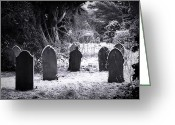 Grave Greeting Cards - Cemetery and snow Greeting Card by Jane Rix