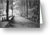 Silver Gelatin Greeting Cards - Cemetery at Ypres  Greeting Card by Simon Marsden