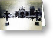 Funeral Greeting Cards - Cemetery Greeting Card by Joana Kruse