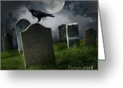 Spooky Moon Greeting Cards - Cemetery with old gravestones and moon Greeting Card by Sandra Cunningham