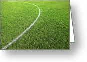 Football Photo Greeting Cards - Center Circle On Football Pitch Greeting Card by Richard Newstead