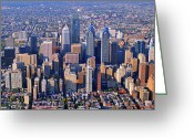 Duncan Pearson Greeting Cards - Center City Aerial Photograph Skyline Philadelphia Pennsylvania 19103 Greeting Card by Duncan Pearson