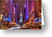 Illuminated Greeting Cards - Center City Philadelphia Greeting Card by Eric Bowers Photo