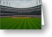 Umpire Greeting Cards - Center Field Greeting Card by Robert Harmon