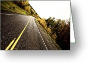 Alberta Landscape Greeting Cards - Center lines along a paved road in autumn Greeting Card by Mark Duffy