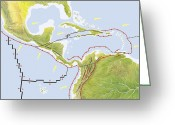 Nazca Greeting Cards - Central America Tectonic Plates, Diagram Greeting Card by Gary Hincks