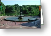 Lake Park Greeting Cards - Central Fountain Greeting Card by Kelvin Booker