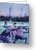 Ny Yankees Baseball Art Greeting Cards - Central Park Baseball - New York City Greeting Card by Peter Art Prints Posters Gallery