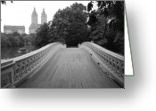 Park Greeting Cards - Central Park Bow Bridge with The San Remo Greeting Card by Christopher Kirby
