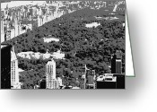 The Capital Of The World Greeting Cards - Central Park BW3 Greeting Card by Scott Kelley