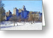 Staley Art Greeting Cards - Central Park Greeting Card by Chuck Staley