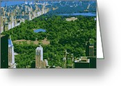 The Capital Of The World Greeting Cards - Central Park Color 6 Greeting Card by Scott Kelley