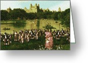 Masterpiece Drawings Greeting Cards - Central Park Meeting - New York Oil Greeting Card by Peter Art Prints Posters Gallery