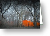 Taxi Cab Greeting Cards - Central Park Greeting Card by Irina  March