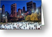 Park] Greeting Cards - Central Park Skaters Greeting Card by June Marie Sobrito