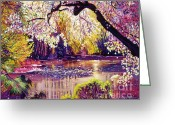 Central Painting Greeting Cards - Central Park Spring Pond Greeting Card by David Lloyd Glover