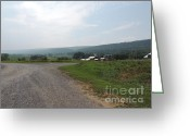 Amish Farms Greeting Cards - Central Pennsylvania Farm Road Landscape Greeting Card by JB Ronan