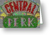 Nice Day Greeting Cards - Central Perk Smiley Face Mosaic Greeting Card by Paul Van Scott