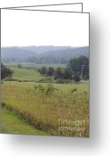 Amish Farms Greeting Cards - Centre Hall Pennsylvania Farmland and Mountains Greeting Card by JB Ronan