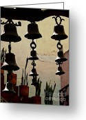 Chimes Greeting Cards - Ceramic Bells Greeting Card by Olden Mexico