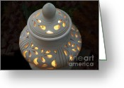 Knob Greeting Cards - Ceramic Lantern Greeting Card by Yali Shi