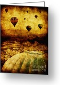 Hot Air Balloon Photo Greeting Cards - Cerebral Hemisphere Greeting Card by Andrew Paranavitana