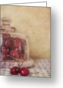 Checkered Greeting Cards - Cerise Greeting Card by Priska Wettstein