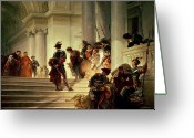 Load Greeting Cards - Cesare Borgia leaving the Vatican Greeting Card by Giuseppe Lorenzo Gatteri