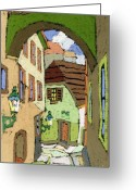 Buildings Greeting Cards - Cesky Krumlov Masna Street Greeting Card by Yuriy  Shevchuk