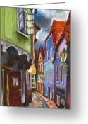 Architectur Greeting Cards - Cesky Krumlov Old Street 1 Greeting Card by Yuriy  Shevchuk
