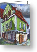 Realism Greeting Cards - Cesky Krumlov Old Street 3 Greeting Card by Yuriy  Shevchuk