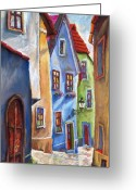 Realism Greeting Cards - Cesky Krumlov Old Street Greeting Card by Yuriy  Shevchuk