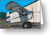 Airplanes Digital Art Greeting Cards - Cessie Greeting Card by Steven Richardson
