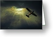 Sunset Greeting Cards - Cessna 172 Airplane Greeting Card by photograph by Anastasiya Fursova