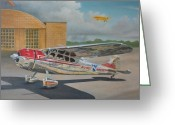 Midwest Greeting Cards - Cessna 195 Greeting Card by Stuart Swartz