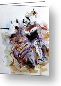 Jousting Greeting Cards - Chaaarge Greeting Card by Steven Ponsford