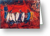 20th Century Photo Greeting Cards - Chagall: Abraham/angels Greeting Card by Granger