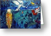 20th Century Photo Greeting Cards - Chagall: Adam And Eve Greeting Card by Granger