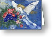 Angel Greeting Cards - Chagall Blue Angel Greeting Card by Granger