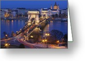 Travel Destinations Greeting Cards - Chain Bridge At Night Greeting Card by Romeo Reidl