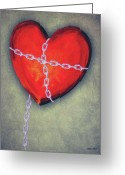 Chained Greeting Cards - Chained Heart Greeting Card by Jeff Kolker