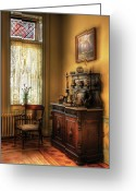Barista Greeting Cards - Chair - In the corner of Grandmas Kitchen Greeting Card by Mike Savad