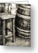 Vintage Chair Greeting Cards - Chair and Barrel Greeting Card by John Rizzuto