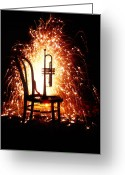Trumpet Music Greeting Cards - Chair and horn with fireworks Greeting Card by Garry Gay