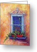 Scroll Pastels Greeting Cards - Chair in the Window Greeting Card by Tanja Ware