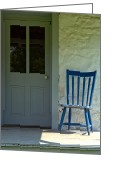 Farmhouse Greeting Cards - Chair on Farmhouse Porch Greeting Card by Olivier Le Queinec