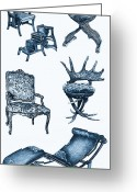 Commission Greeting Cards - Chair poster in blue Greeting Card by Lee-Ann Adendorff