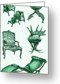 Commission Greeting Cards - Chair poster in green  Greeting Card by Lee-Ann Adendorff